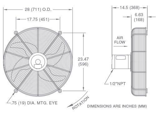 Fan Model F25 Drawing