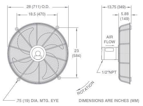 Fan Model FS24 Drawing